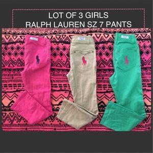 LOT OF 3 RALPH LAUREN GIRL PANTS SZ 7 GENTLY USED